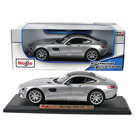 Diecast Sports Car - Maisto Year 2015 Special Edition Series 1:18 Scale Die Cast Car Set - Silver Color Sports Coupe MERCEDES BENZ AMG GT with Display Base (Car Dimension: 9-1/2 x 4 x 2-1/2)