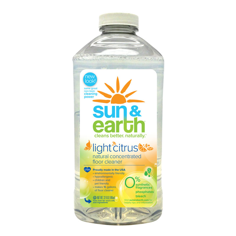 Sun & Earth Natural Floor Cleaner, Light Citrus, 32 Fl Oz
