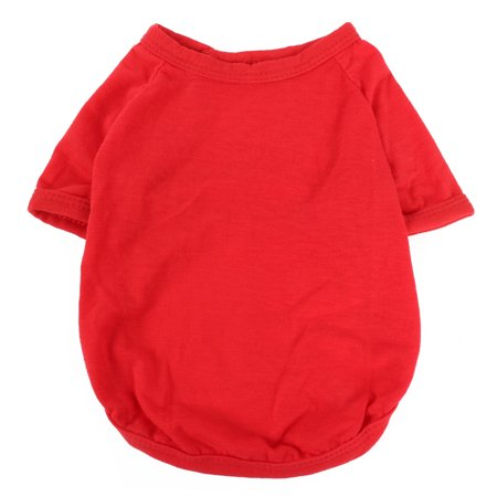 Pet Dog Cotton Round Collar Short Sleeve T-Shirt Vest Clothes Apparel Red Size S