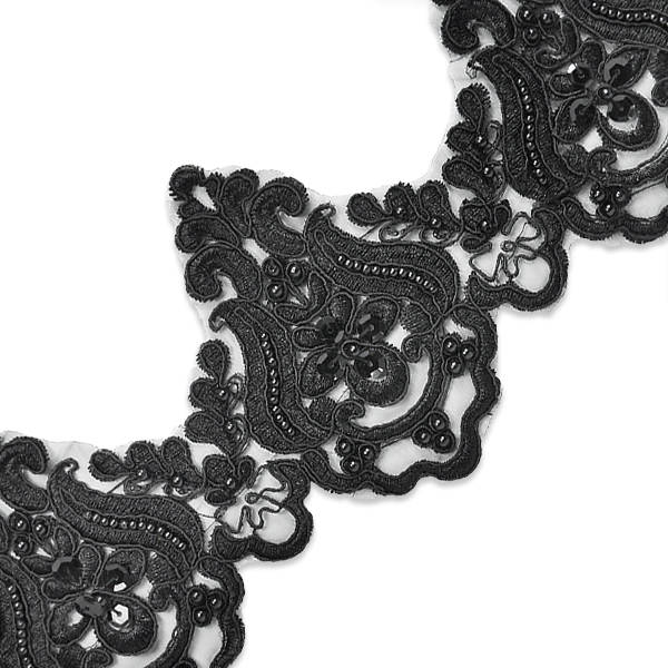 Expo Int'l 2 yards of Nelly Embroidered Organza Lace Trim with Pearls and Sequin