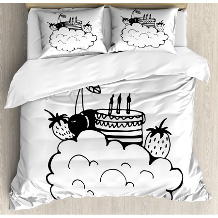 Sweet Dreams King Size Duvet Cover Set, Doodle Style Birthday Cake with Berry Fruits on a Cloud Monochrome Design, Decorative 3 Piece Bedding Set with 2 Pillow Shams, Black and White, by Ambesonne (King Cape)
