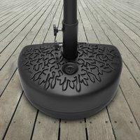 Pure Garden, Half Moon Umbrella Base, 34 lb. Plastic and Steel, Black