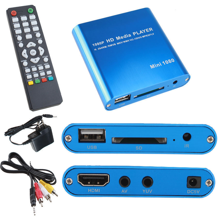 AGPtek 1080P Full HD Digital Media Player Support Internal Flash/USB Storage/