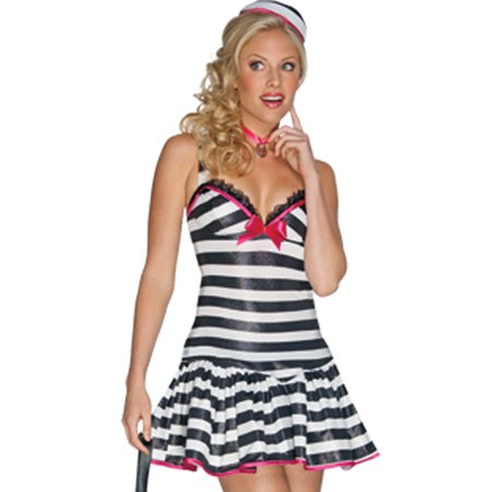 Convicted Cutie Jail Bird Inmate Dress Up Party Halloween Womens Costume