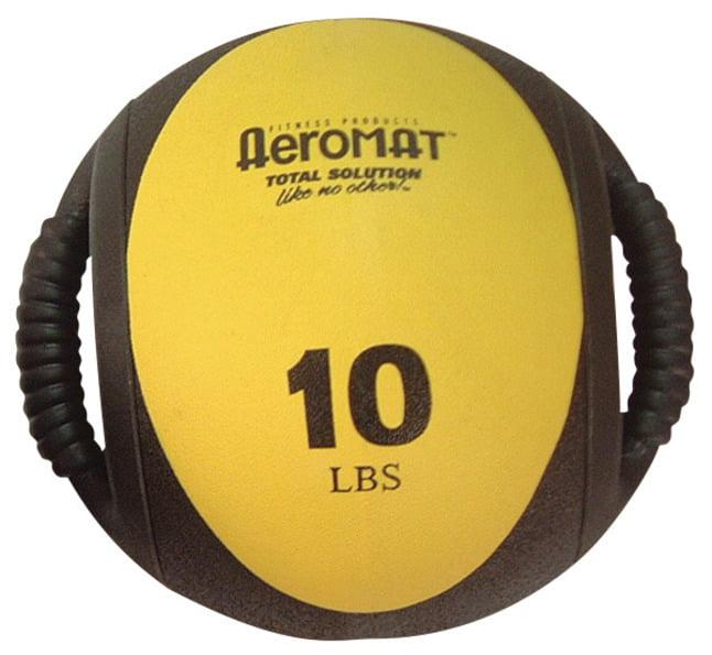 "Sportime Aeromat Hard Rubber Dual Grip Power Medicine Ball, 9"", Yellow/Black, 10 lb"
