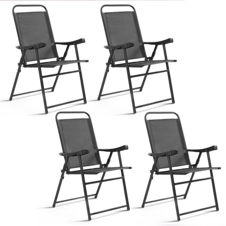 Costway Set Of 4 Folding Sling Chairs Patio Furniture Camping Pool Beach With Armrest (Arm Folding Chair)