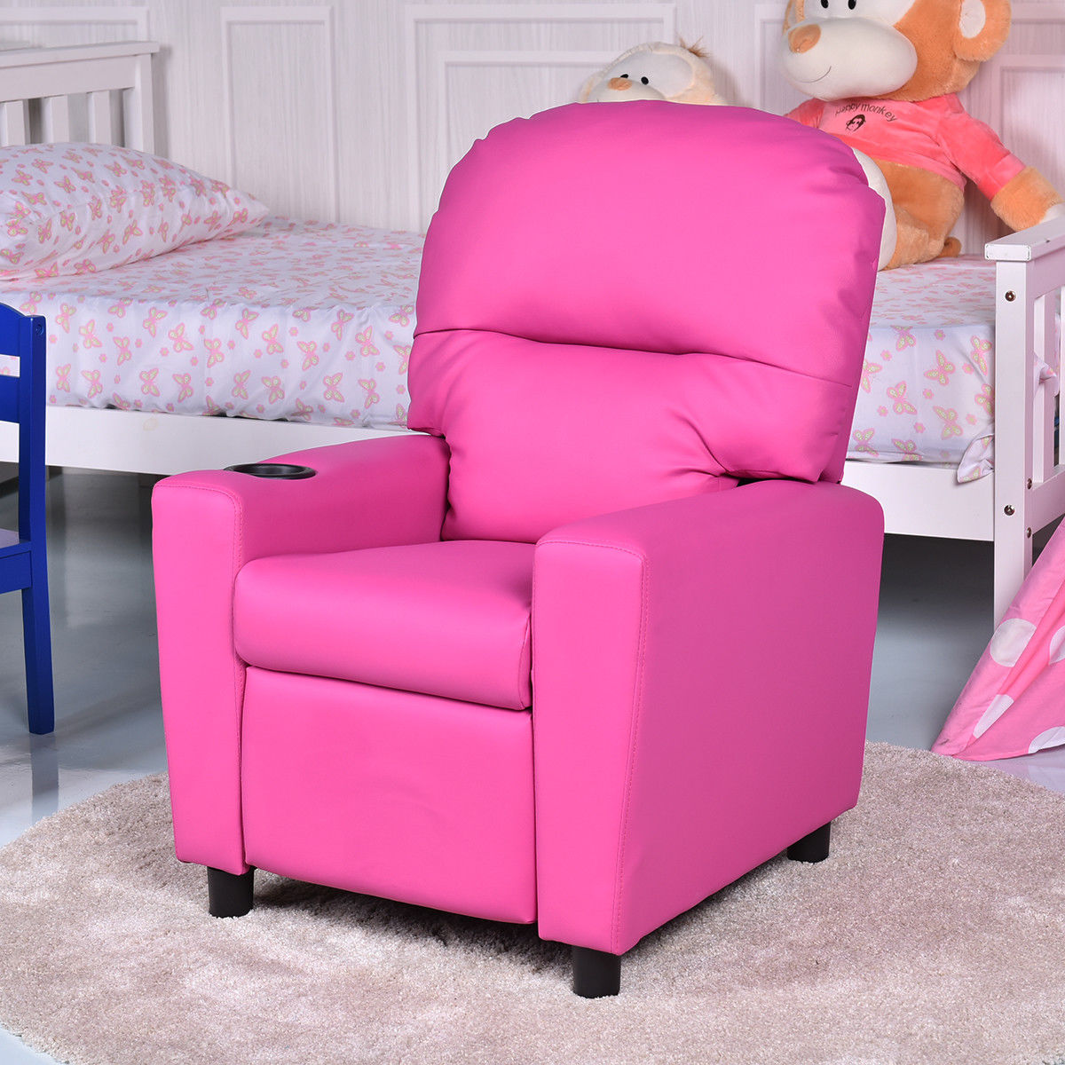 Gymax Kids Armchair Recliner Childrenu0027s Furniture Sofa Seat Couch Chair  W/Cup Holder