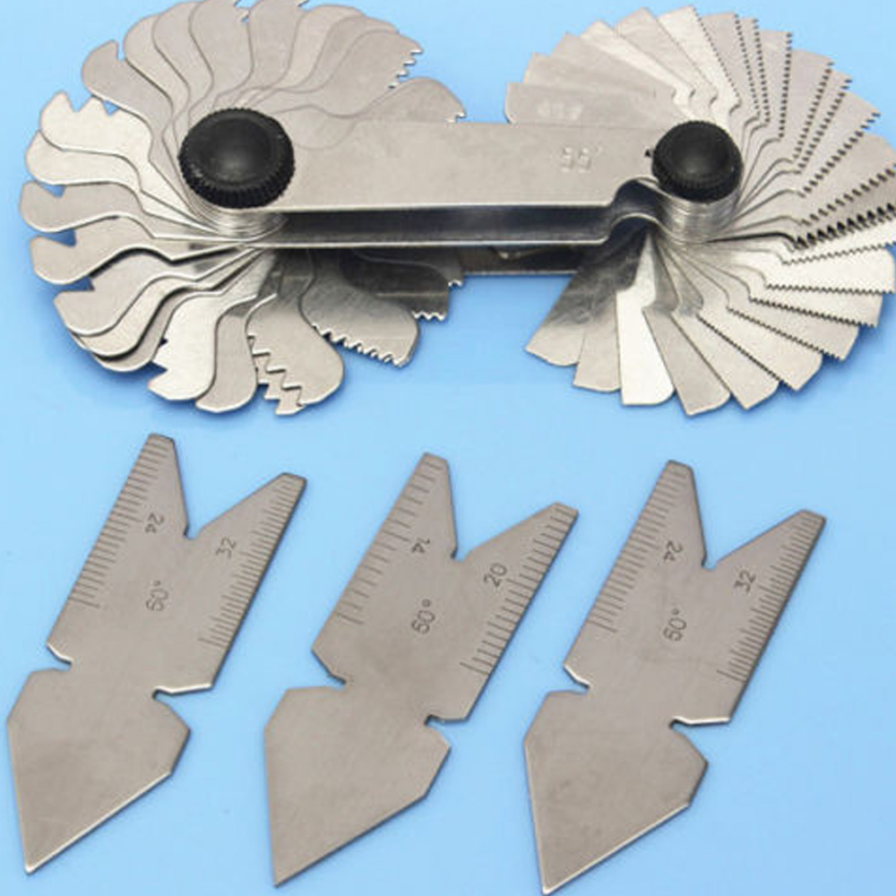 4pcs Screw Thread Pitch Cutting Gauge Tool Set Centre Gage 55 and 60 Degree Inch and Metric Measuring Gauging Lathe Tools