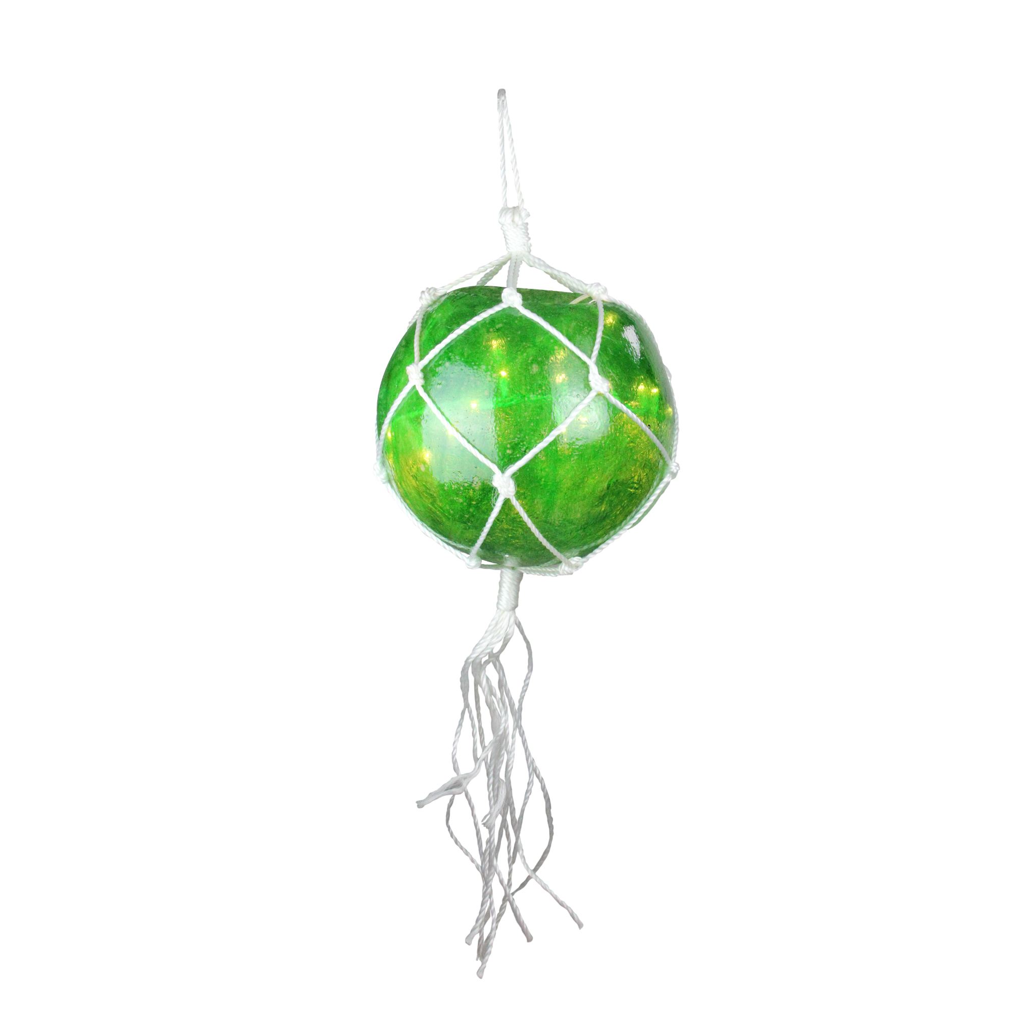 """14.4"""" Lighted Roped Green Ball Outdoor Christmas Decoration - Clear Lights"""