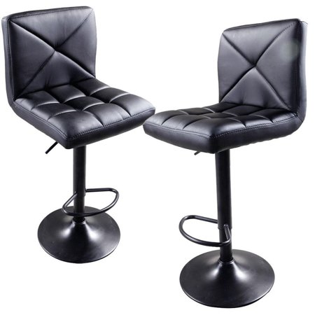 Ktaxon Set of 2 Brown PU Leather Modern Adjustable Swivel Hydraulic Chair Bar Stools with Back Coffee ()