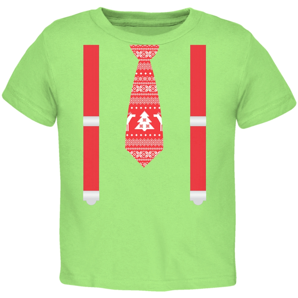 Ugly Christmas Sweater Tie With Suspenders Red Toddler T-Shirt Top