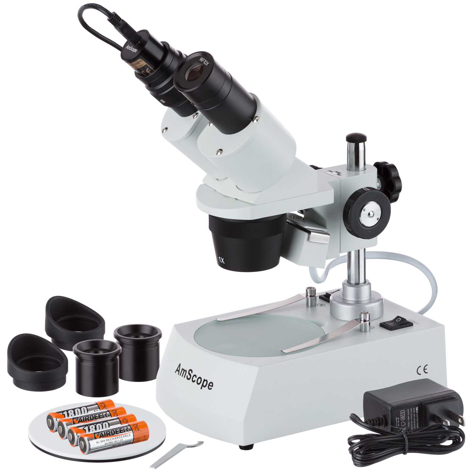 AmScope 5X-10X-15X-30X Cordless LED Stereo Microscope + Camera