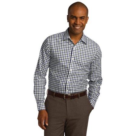 Cotton Non Iron Dress Shirt (RH74 Red House Mens' Dress Shirt Tricolor Check Slim Fit Non-Iron)