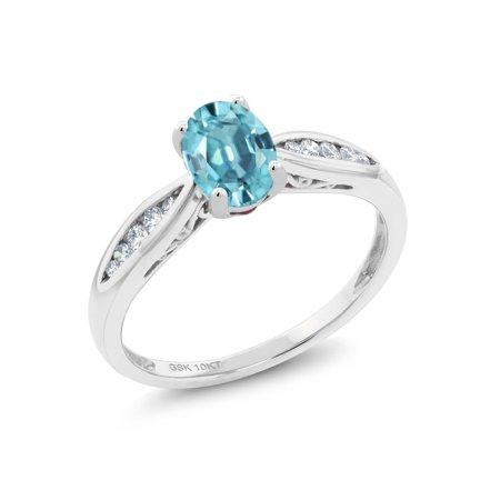 Blue Zircon Birthstone (10K White Gold 1.27 Ct Oval Blue Zircon and Diamond Engagement)