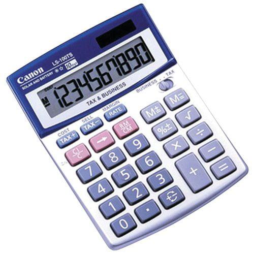 "Canon Ls100tsg Mini-desktop Calculator - 10 Character[s] - Lcd - Solar, Battery Powered - 4"" X 5.3"" X 1.2"" (5936A028AA)"