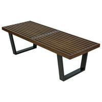 LeisureMod  Inwood Dark Walnut 4 Foot Platform Slat Bench