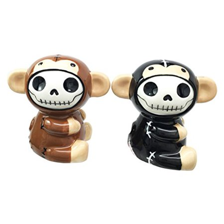 Furrybones Munky Monkeys Hooded Skeleton Ceramic Salt Pepper Shakers Set Collectible Figurines Kitchen & Dining Centerpiece