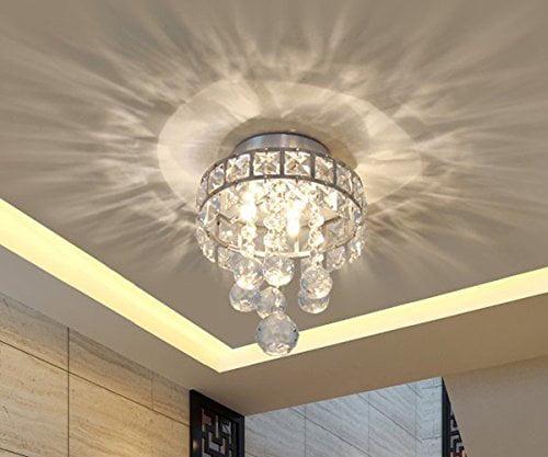 Mini Style 3-Light Chrome Finish Crystal Chandelier Pendent Light for Hallway,Bedroom,Kitchen,Kids Room,Bulb Included