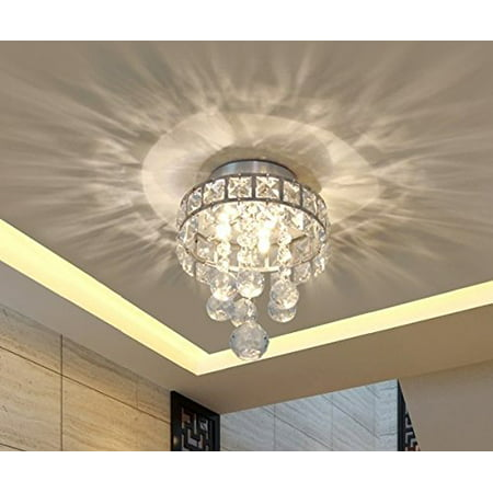 Mini Style 3-Light Chrome Finish Crystal Chandelier Pendent Light for Hallway,Bedroom,Kitchen,Kids Room,Bulb Included (3 Light Petite Chandelier)