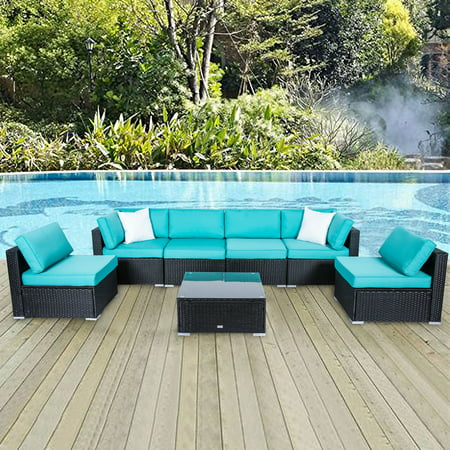 Kinbor 7pcs Outdoor Patio Furniture Sectional Pe Rattan Wicker Rattan Sofa Set with Blue Cushions ()