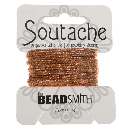 Soutache Cord - BeadSmith Textured Metallic Soutache Braided Cord 3mm Wide - Copper (3 Yards)