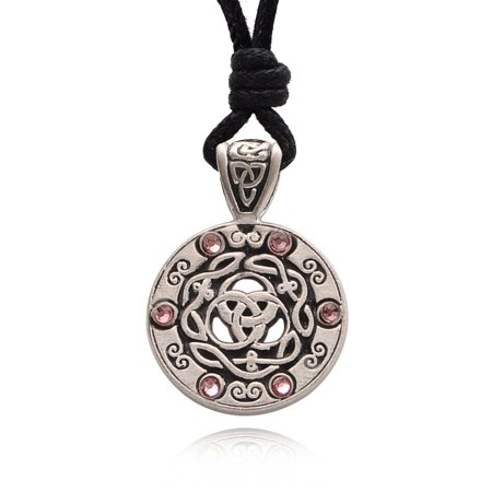 Pink Rose Celtic Trilogy Silver Pewter Charm Necklace Pendant Jewelry With Cotton Cord (Cord Green Pendant)