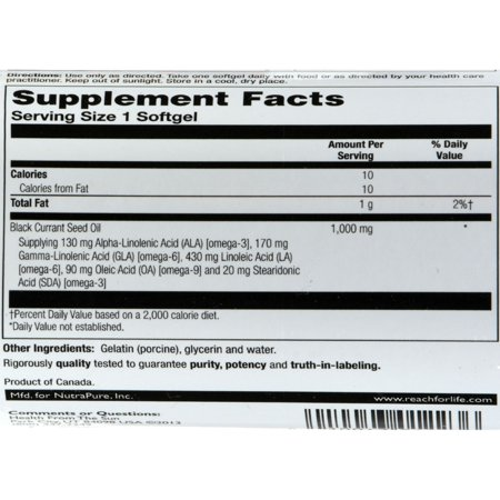 Health From The Sun Black Currant Oil 1000mg, 30 Ct