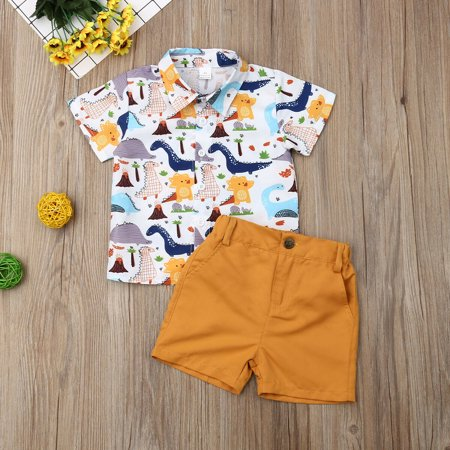 Summer Toddler Kids Baby Boys Clothes Dinosaur Print Tops T-shirt Yellow Pants Shorts Beach Outfits Casual Clothes