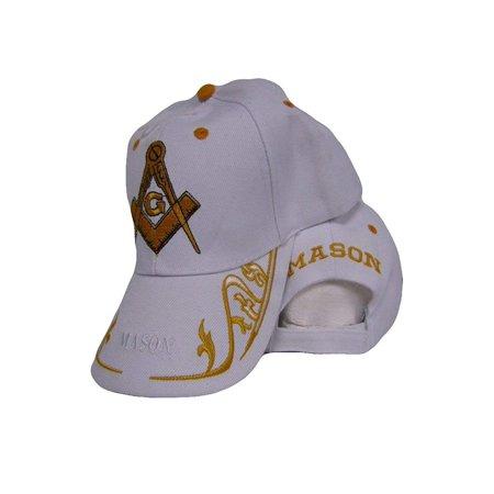 cc5d4fd8289e7 White And Gold Mason Masonic Freemason Feather Eggs Style Cap Hat -  Walmart.com