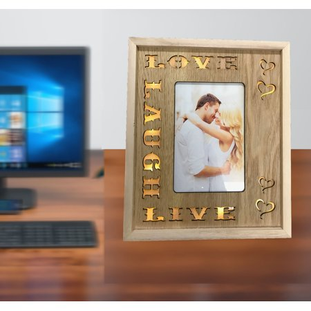 Creative Motion Love, Laugh, Live Words Picture Frame. LED Lighted Photo Frame with Love, Laught, Live Words with Wood Material. Photo Size: 4