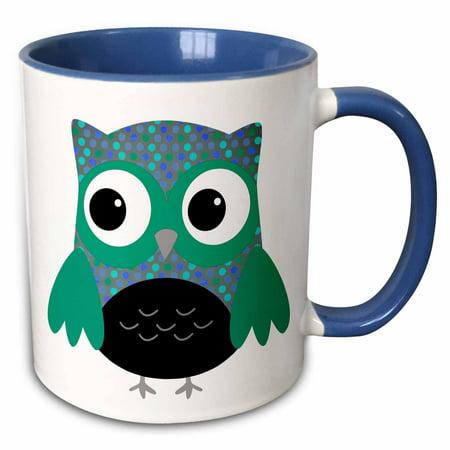 3dRose Cute Blue and Green Polka Dots Owl - Two Tone Blue Mug, 11-ounce
