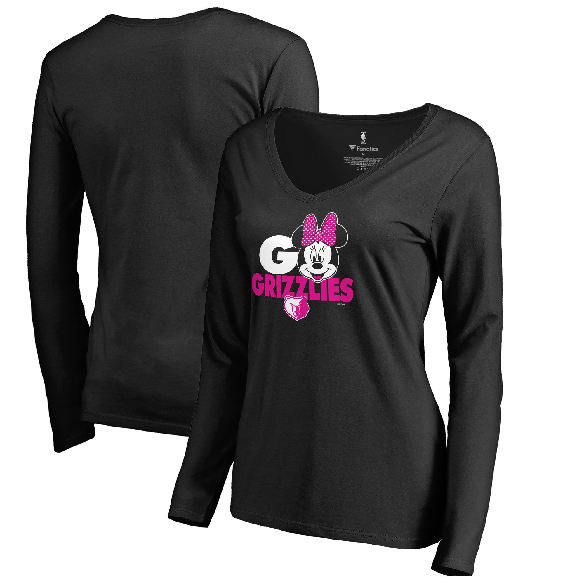 Memphis Grizzlies Fanatics Branded Women's Disney Rally Cry Minnie V-Neck Long Sleeve T-Shirt - Black
