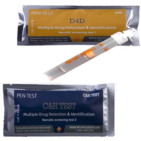 Drug Residue Surface Detection Test -2-STEP Determine if a substance is a drug and what drug it is. [2 pen