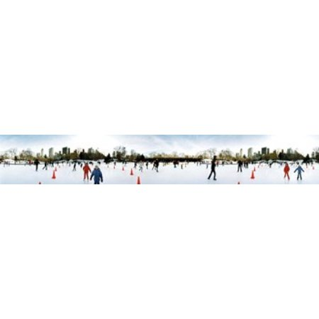 360 degree view of tourists ice skating Wollman Rink Central Park Manhattan New York City New York State USA Canvas Art - Panoramic Images (22 x 4)
