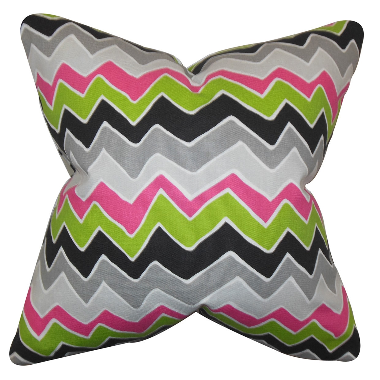 The Pillow Collection Achsah Zigzag Euro Sham Green Gray