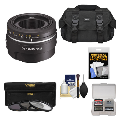 Sony Alpha 50mm f/1.8 DT SAM Lens with 3 (UV/FLD/CPL) Filter Set + Case + Accessory Kit for A37, A58, A65, A68, A77 II, A99 Cameras
