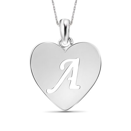 Sterling Silver A Initial Cutout Heart Pendant](Fireflies Necklace)
