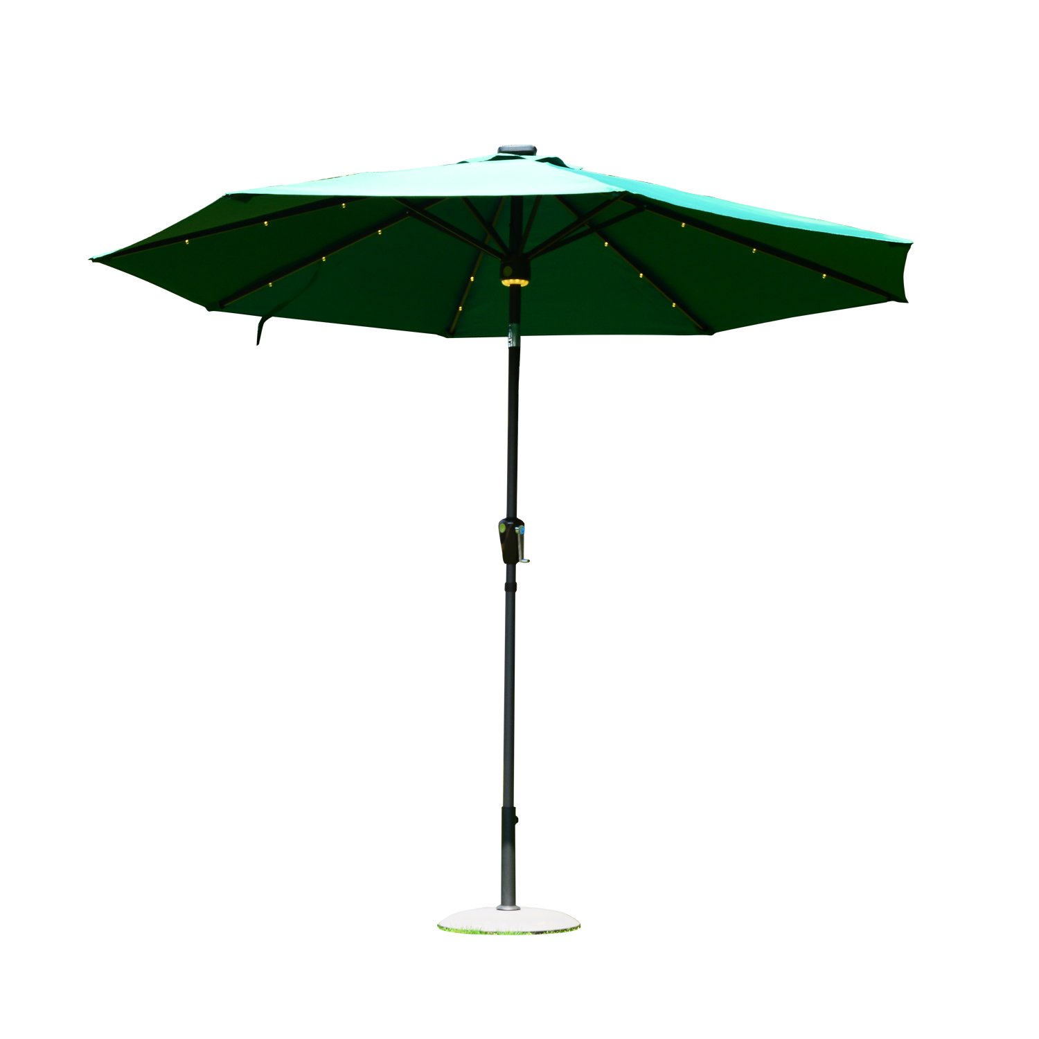 Outsunny 9' Solar LED Market Patio Umbrella w Bluetooth Green by Aosom
