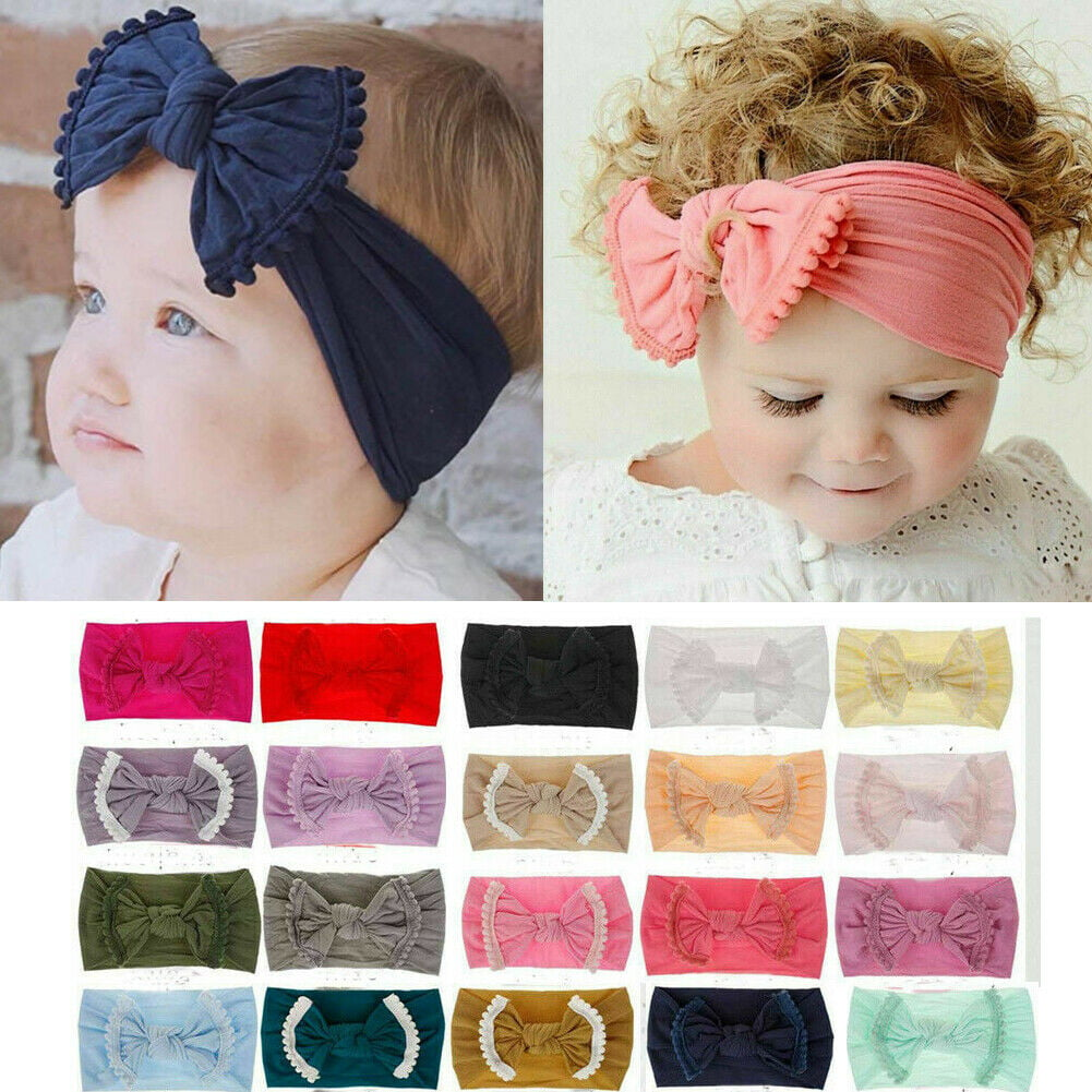 Soft Baby Kids Girls Toddler Bow Hairband Headband Turban Big Knot Head-Wrap