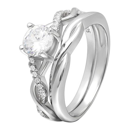 Ginger Lyne Collection Queena Set II Engagement and Wedding Band Ring 925 Sterling Silver 2 Ring Wedding Set
