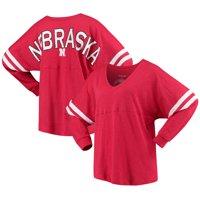 Nebraska Cornhuskers Women's Pom Pom V-Neck Long Sleeve T-Shirt - Scarlet