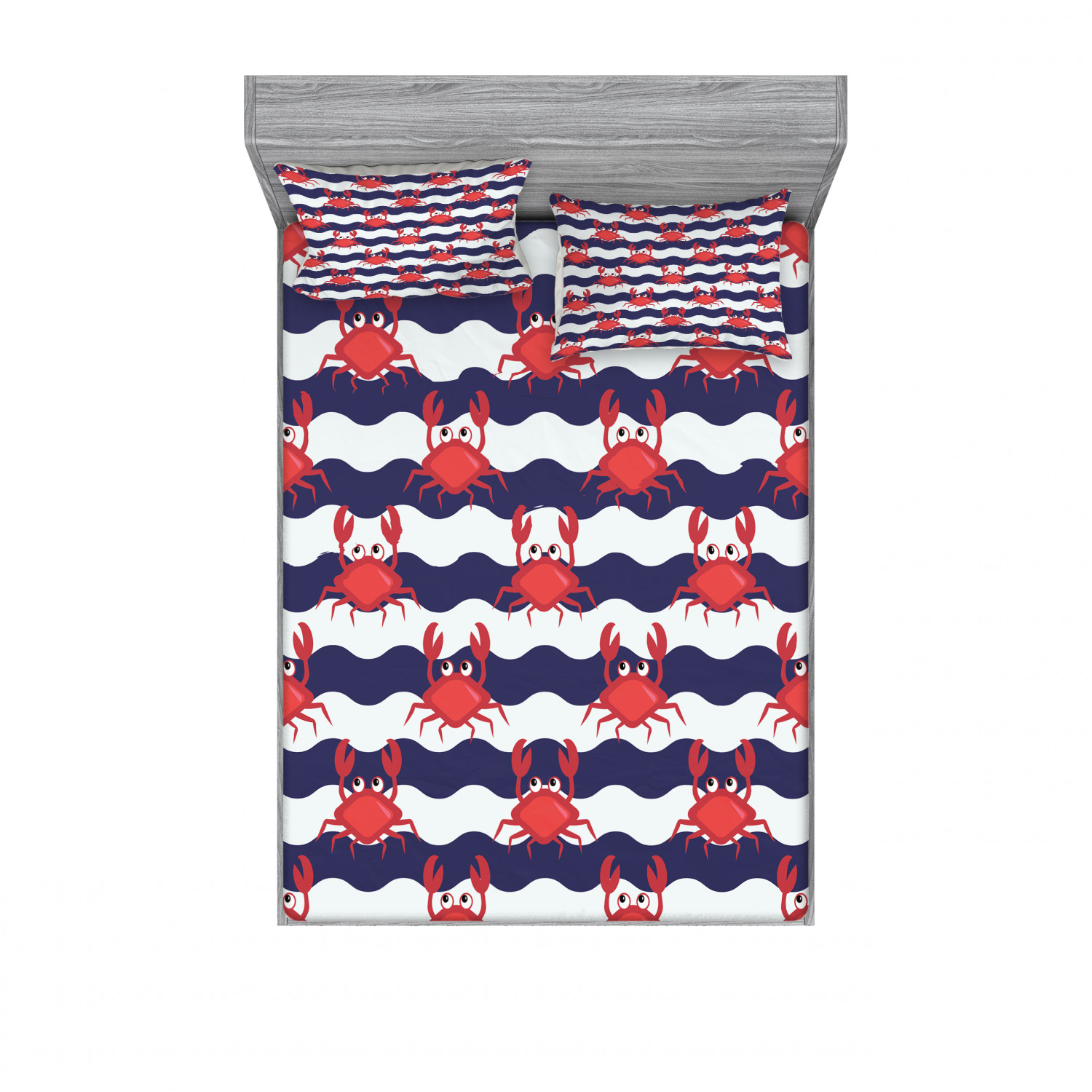 Red Blue Twin Size Nautical Maritime Theme Crabs on Striped Background Illustration Print Decorative 2 Piece Bedding Set with 1 Pillow Sham Ambesonne Crabs Duvet Cover Set