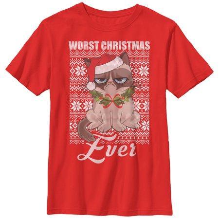 Grumpy Cat Sweater (Grumpy Cat Boys' Worst Christmas Sweater)