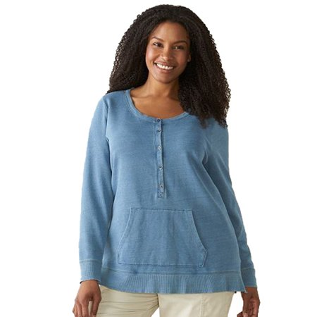 56bb1b28c Sonoma - Sonoma Goods for Life Women Plus Size French Terry Sweater Light  Blue 2X - Walmart.com