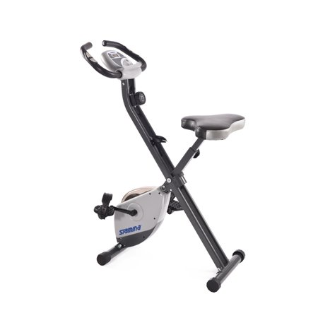 Stamina Cardio Folding Exercise Bike with Heart Rate Sensors and Extra Wide Padded Seat