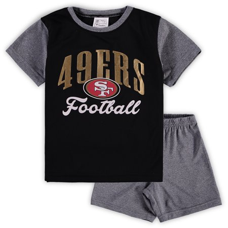 1d582226f82 San Francisco 49ers NFL Pro Line by Fanatics Branded Toddler Two-Piece  Victory Script T-Shirt and Short Set - Black Heathered Gray - Walmart.com