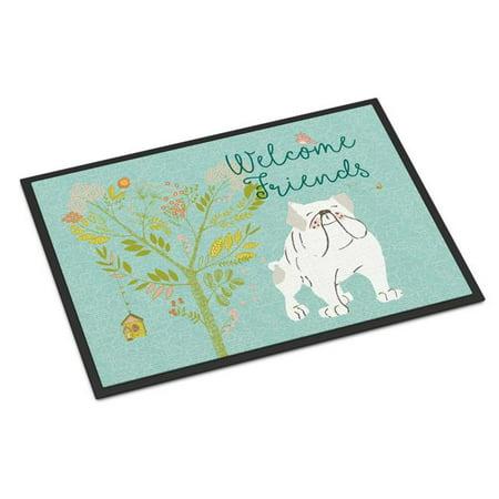 Carolines Treasures BB7603JMAT Welcome Friends English Bulldog White Indoor or Outdoor Mat, 24 x 36 in. - image 1 de 1
