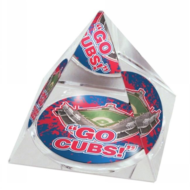 Paragon Innovations WrigleyPYRGoCubbs Crystal pyramid with Wrigley Field image at the bottom  giving a kaleidoscope   effect-MLB
