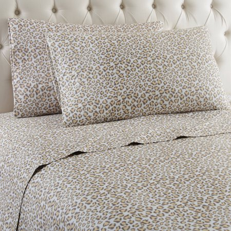 Micro Flannel® Printed Color Sheet Set, Queen, Leopard