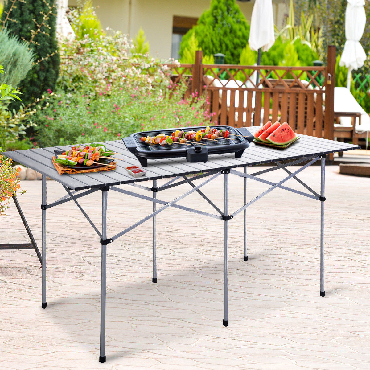 Costway Roll Up Portable Folding Camping Square Aluminum Picnic Table w Bag (55'' ) by Costway